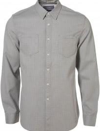 Topman Grey Marl Waffle Cotton Shirt