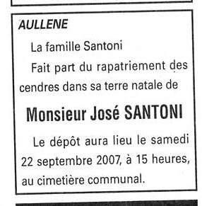 Décès Santoni José