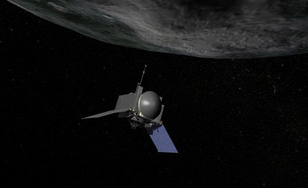 An artist's concept of NASA's OSIRIS-REx spacecraft preparing to take a sample from asteroid Bennu.