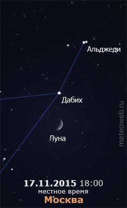 Растущая Луна на вечернем небе Москвы 17 ноября 2015 г.