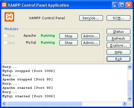 Apache dan MySQL  Sudah Jalan