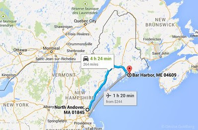 route from N Andover MA to Bar Harbor ME