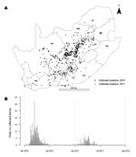 Thumbnail of Rift Valley fever epidemic, South Africa, 2010–2011. A) Location of cases. Unmarked area in center right is Lesotho (no data). B) Epidemic curve for the 2 years. NC, Northern Cape; NW, North West; LP, Limpopo; GT, Gauteng; MP, Mpumalanga; FS, Free State; KN, KwaZulu-Natal; EC, Eastern Cape; WC, Western Cape.