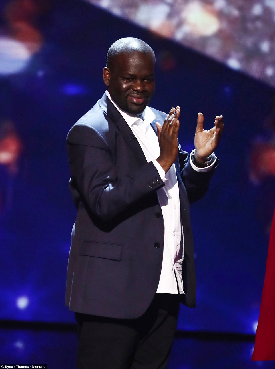 Loving life:Amanda's golden buzzer act, Daliso Chaponda, was up next and shocked and delighted with his near the bone comedic routine