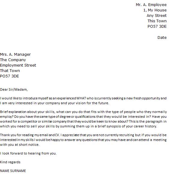 Cover Letter Sample Job Opening