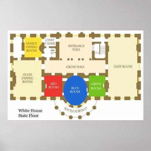 Floorplan of The White House State Floor Diagram Poster