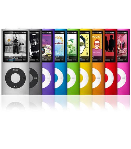 九種顏色的第四代iPod nano