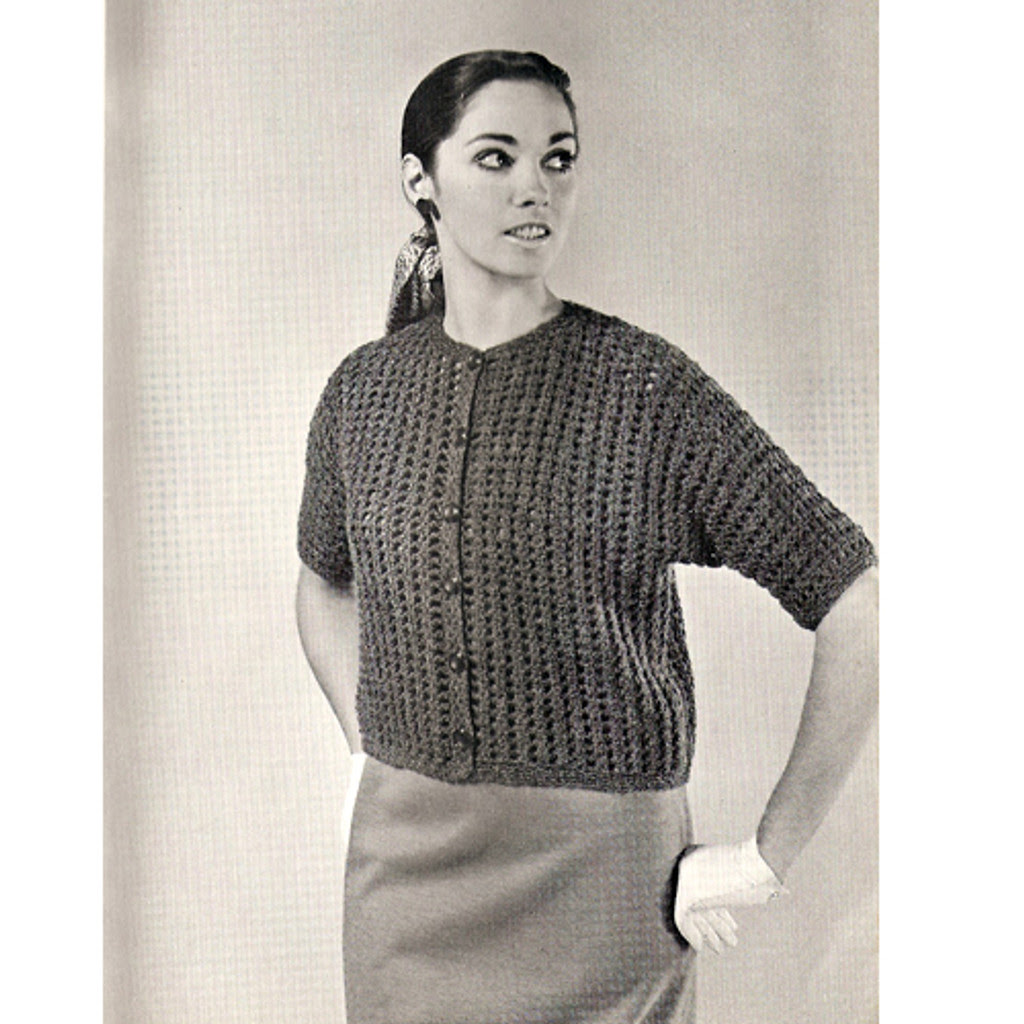 Crocheted Short Cardigan Pattern, Beginners Design