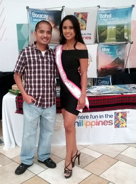 Posing with a model during ASEAN Fest 2018 at Puente Hills Mall in City of Industry, California...on May 26, 2018.