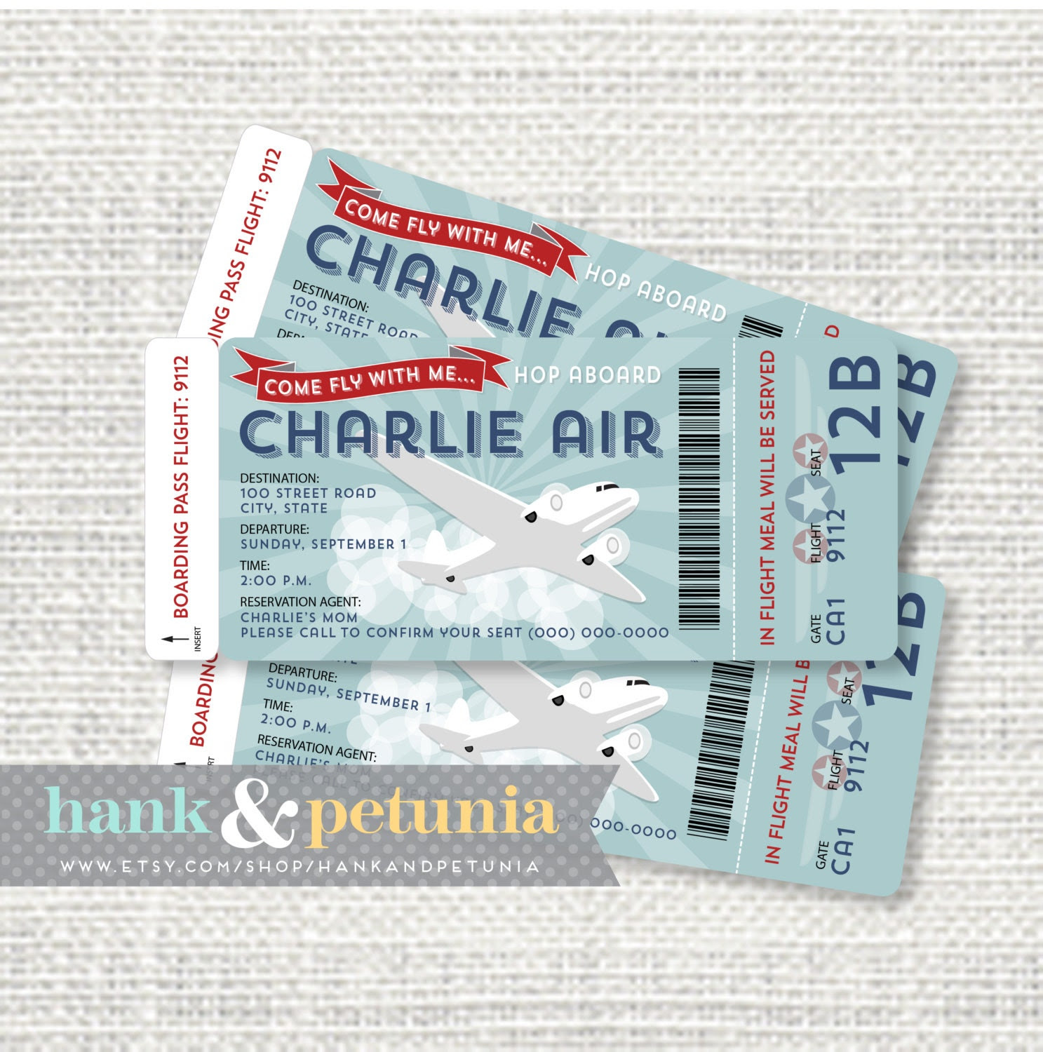 Printable Airplane Birthday Invitation Boarding Pass
