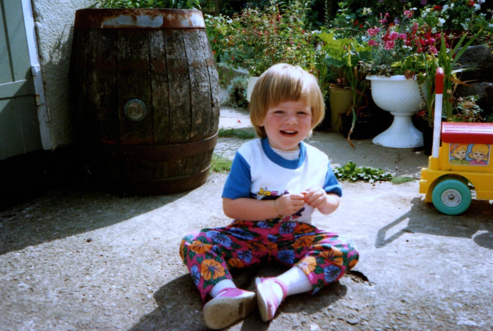 me sat in the garden