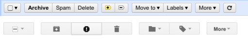 Comparison of old and new Gmail toolbars