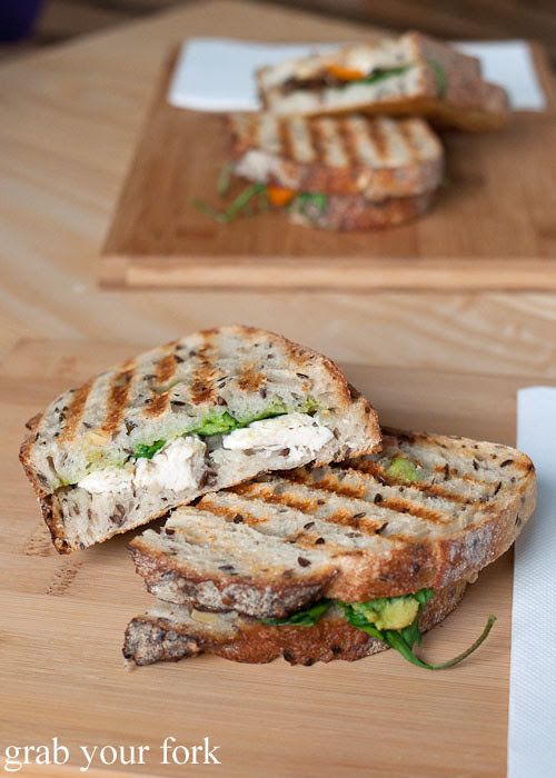 poached chicken avocado toasted sandwich at the stables cafe surry hills