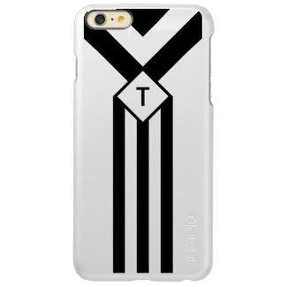 Black Stripes and Chevrons with Monogram on White Incipio Feather® Shine iPhone 6 Plus Case