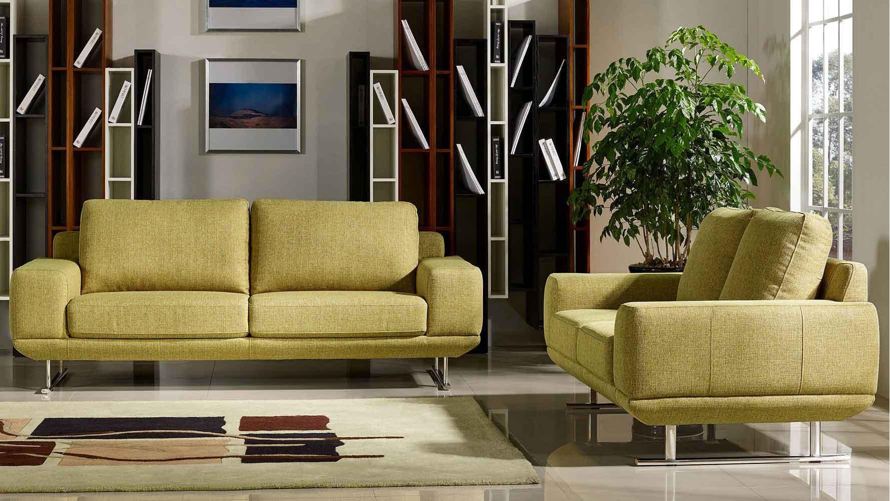 Modern Chartreuse Fabric Della Sofa and Loveseat Set ...