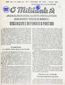 O Militante, Série 3, n.º 107 (NOV. 1960)