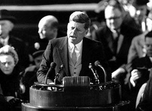 President John F. Kennedy gives a speech...about giant alien robots on the Moon?  Haha.