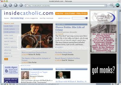 Article entitled 'Pierce Pettis: His Life of Crime' as it appears on home page of InsideCatholic.com, March 1 2008