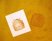 beehive with bees clear polymer rubber stamp - sugarskull7