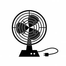 扇風機シルエット イラストの無料ダウンロードサイトシルエットac