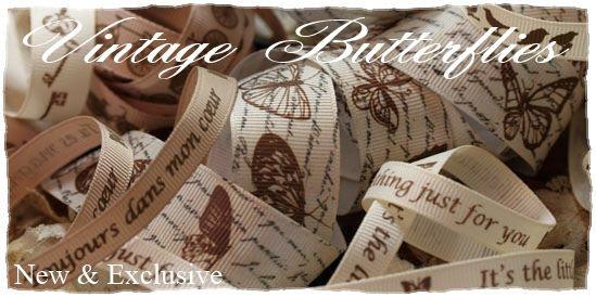 vintage butterflies ribbon