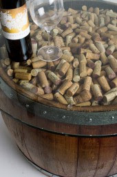Natural Wine Barrel Coffee Table With Cork And Glass Top Alpine Wine