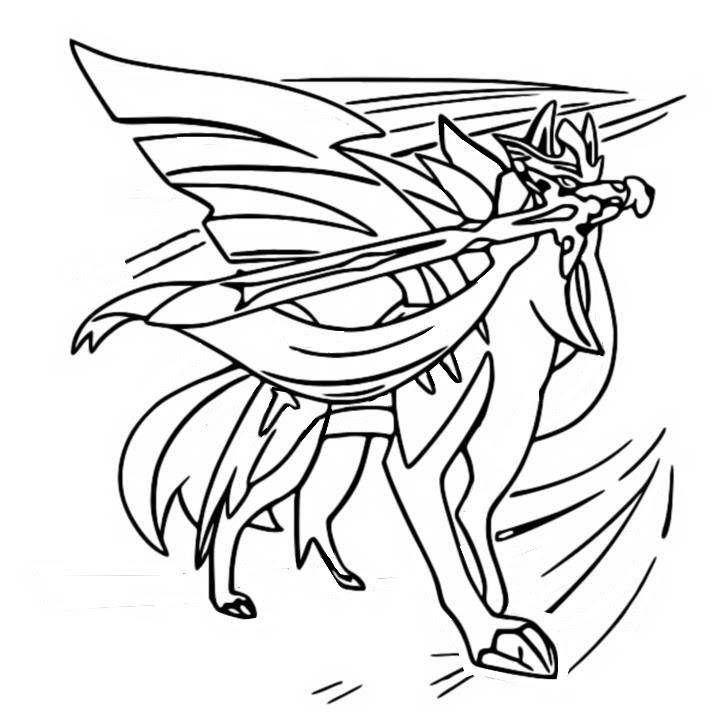 Coloriage Pokémon Epée et Bouclier : Zacian 28