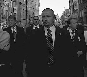 Bodyguards of Viktor Yushchenko (far left). Ta...