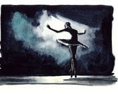 Black Swan Ballerina Performance Ballet Dancer - Print of Original Watercolor 6 x 9 - Black Swan Natalie Portman Odile Odette - LauraLaurentSalon