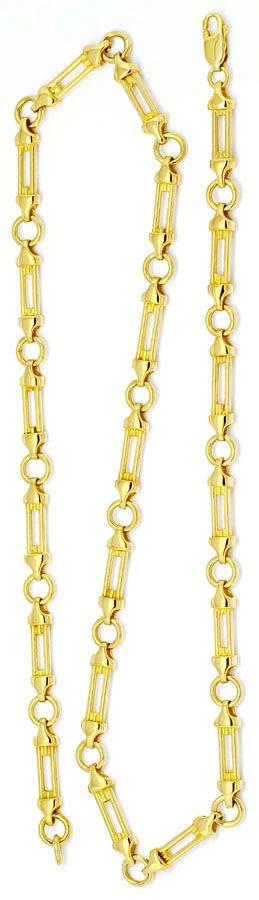 Foto 3, Designer Säulen Phantasie Goldkette massiv Gelbgold 14K, K2205