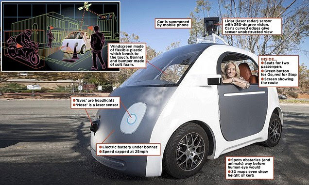Google's driverless car prototype at their California campus