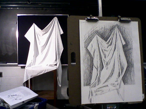 draping in pencil