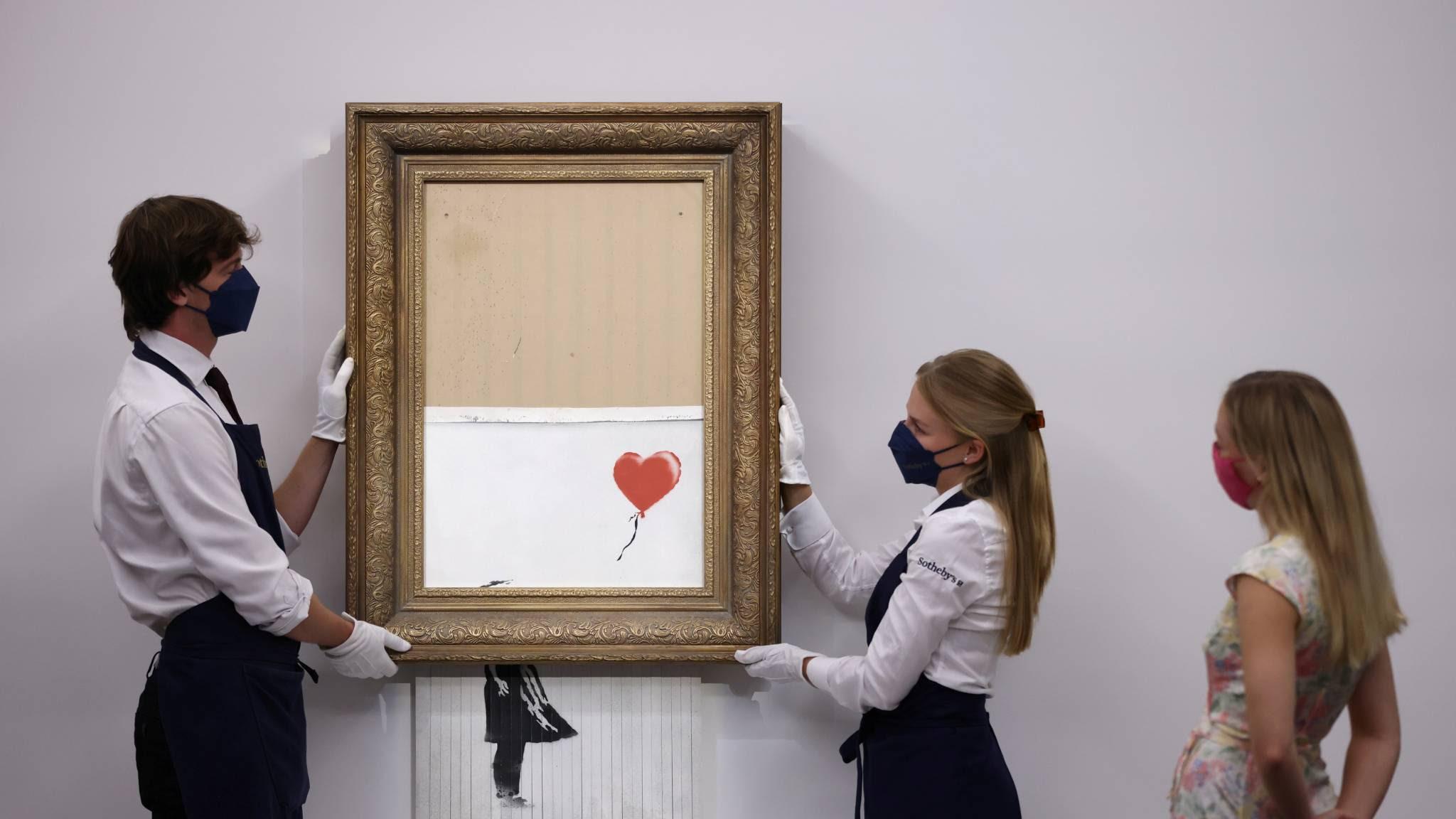 Versnipperd kunstwerk Banksy brengt 19 miljoen euro op