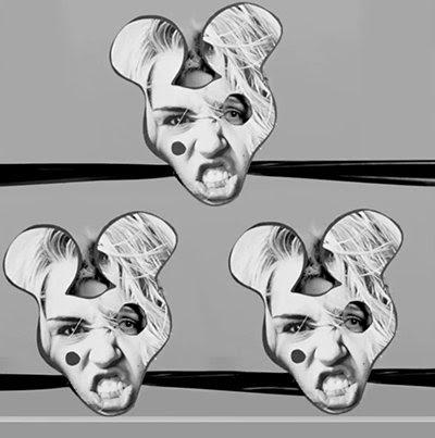 Por uma fração de segundo, os chefes de Miley são cobertas com as orelhas de um rolamento máscara de Mickey Mouse (um símbolo que representa a programação MK).  Além disso, um dos olhos é cortar o sinal clássico da indústria do entretenimento dos Illuminati.