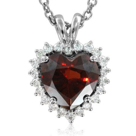 Garnet And Diamond Heart Pendant In 14k White Gold Chain