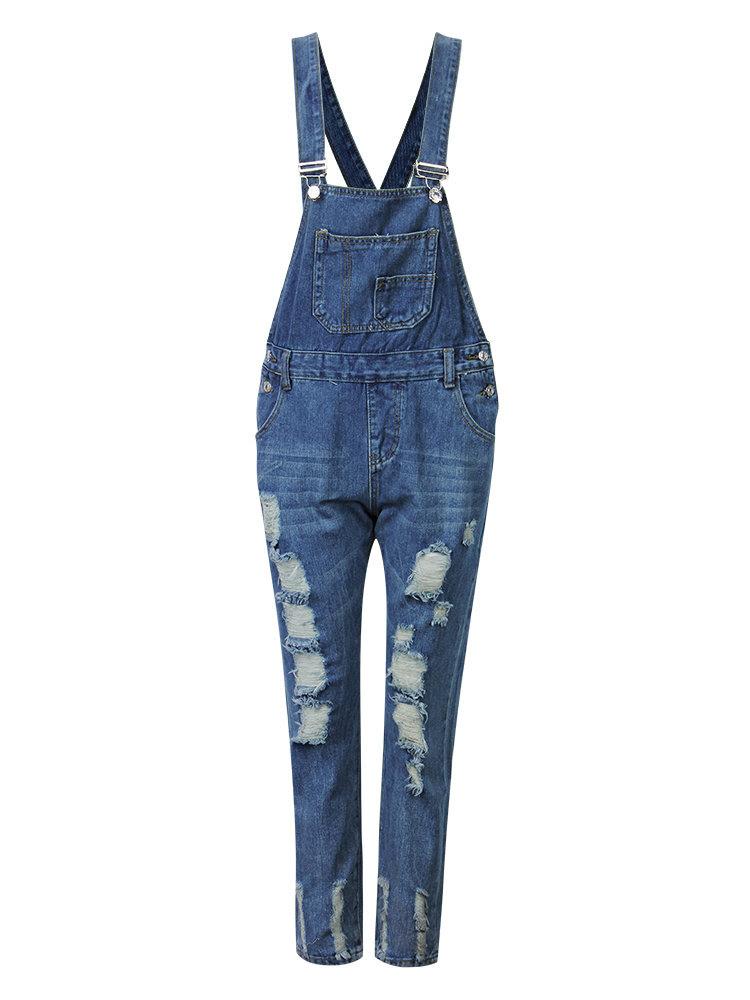 Casual Pure Color Strap Pocket Hole Denim Trousers Jumpsuit For Women