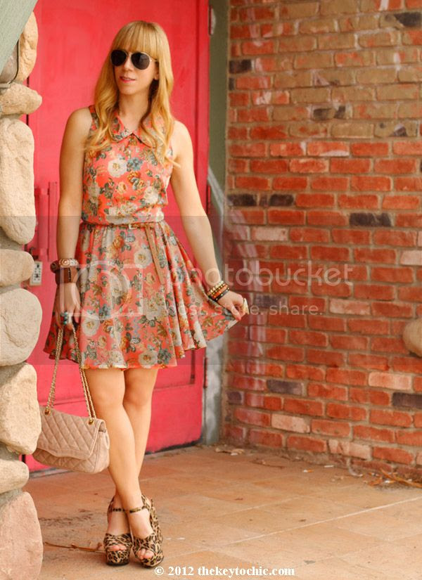 Sugarlips floral dress, Mossimo Silverleaf leopard wedges, Los Angeles fashion blog, southern California style