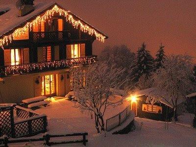 christmas, cottage, cozy, fairy light  image 676643 on Favim.com