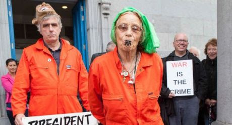 Margaretta D'Arcy and Nial Farrel outside Ennis Court