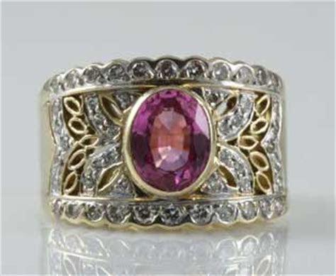 Vintage LeVian Pink Sapphire Diamond Ring
