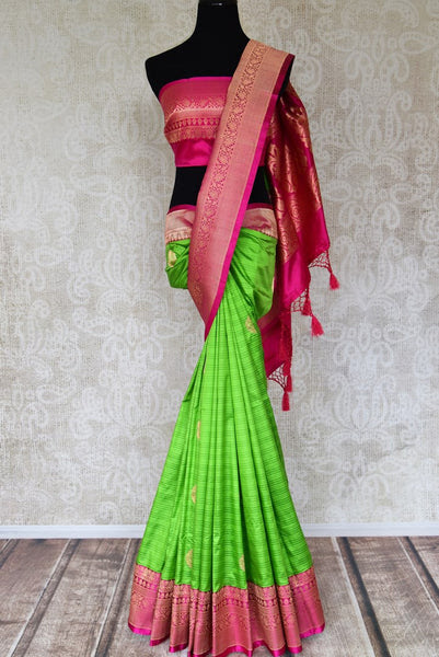 d8752a9769153 Buy Parrot Green Striped Benarasi Silk Saree Online With Pink Zari