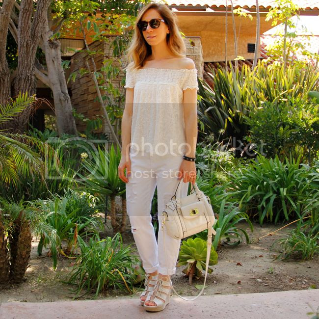how to wear an off-the-shoulder top, Target Style lace top and Mossimo boyfriend jeans
