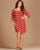 INC International Concepts Plus Size Dress, Three Quarter Sleeve Printed