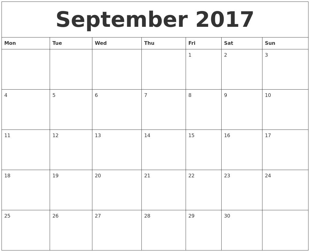 september 2017 make a calendar free monday start