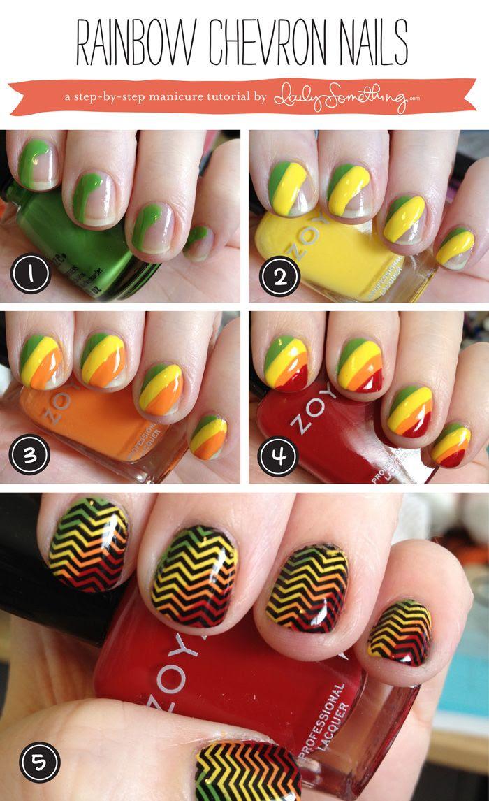 Rainbow Chevron nails. Adorable.