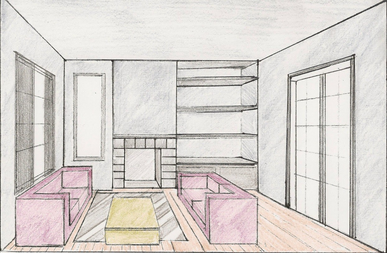 Interior Design Living Room Perspective Drawing