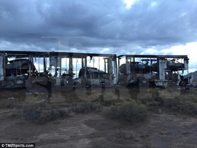 This truck was carrying one of Mayweather's Bentleys, two of his Rolls-Royces and a custom Jeep when it - and all the vehicles on it - were burnt to a crisp in a mystery blaze