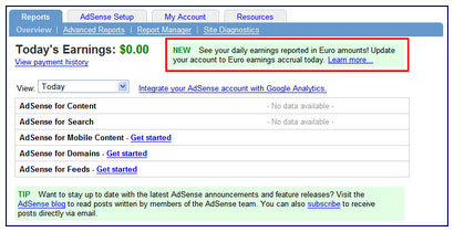 Adsense Euro Conversion