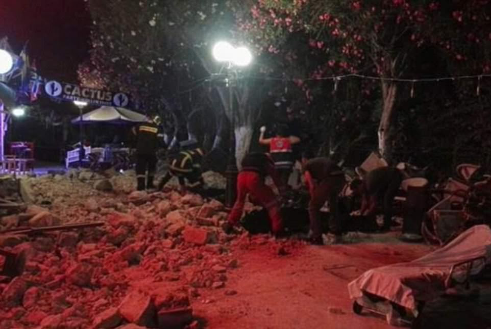 Emergency services in Kos, Greece, desperately search through the rubble to treat the injured and assess the damage