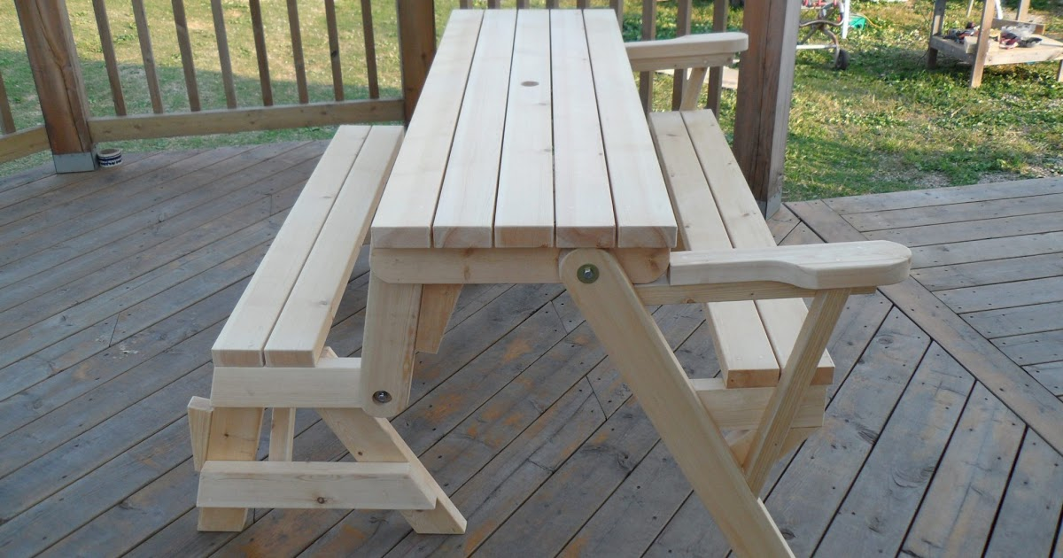 Folding Picnic Table Bench Plans Aquaponics In Garden